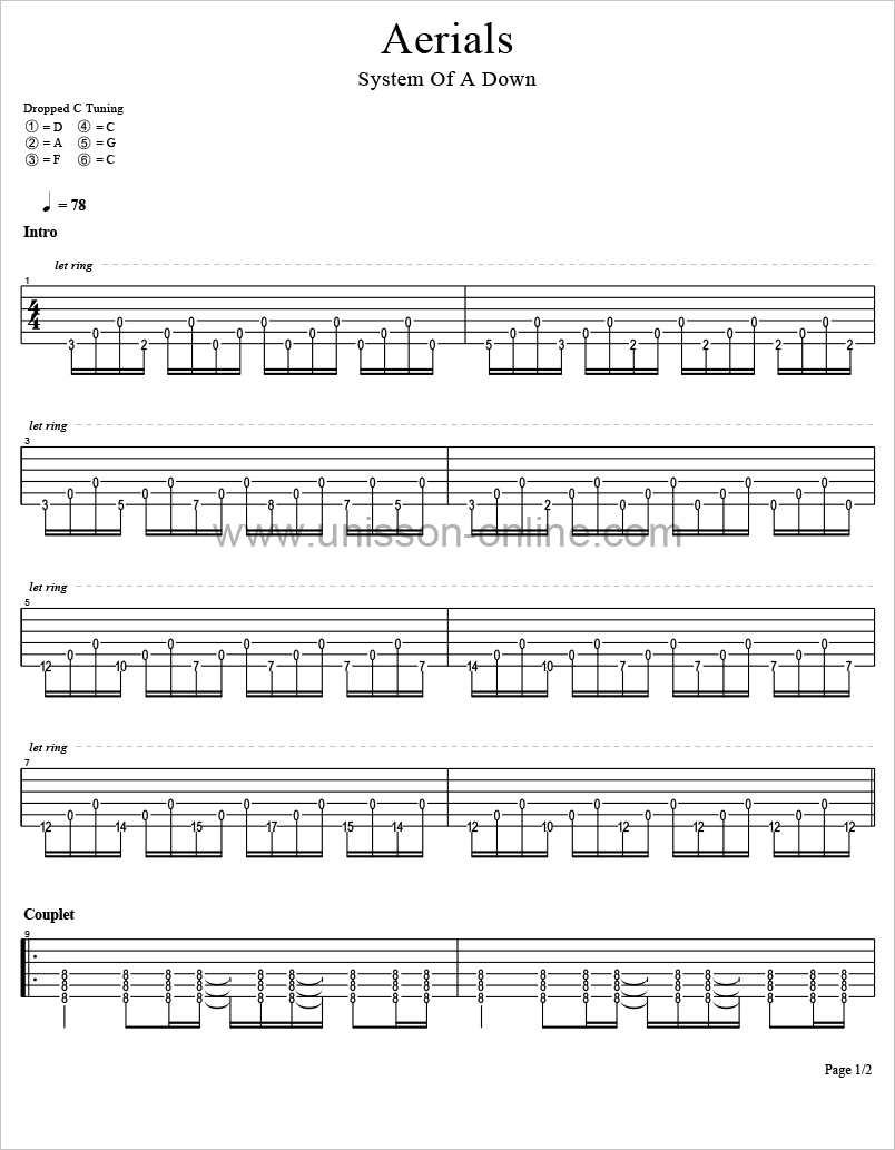 Aerials-System-of-a-down-Tablature-Guitar-Pro