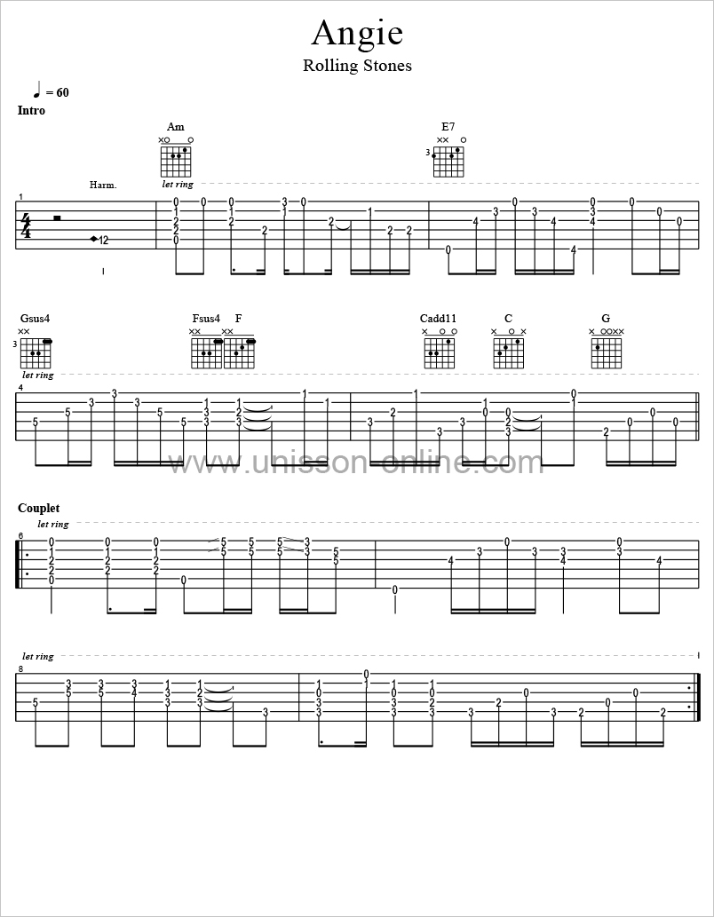 tablature guitare angie