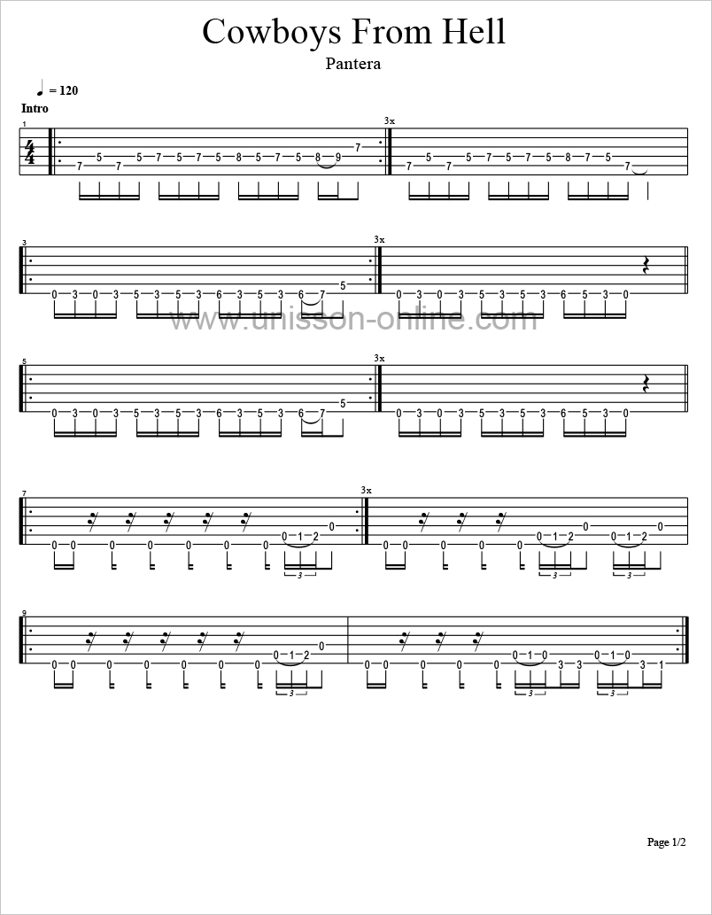 Cowboys-from-hell-Pantera-Tablature-Guitar-Pro