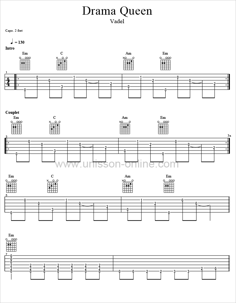 Drama-queen-Vadel-Tablature-Guitar-Pro