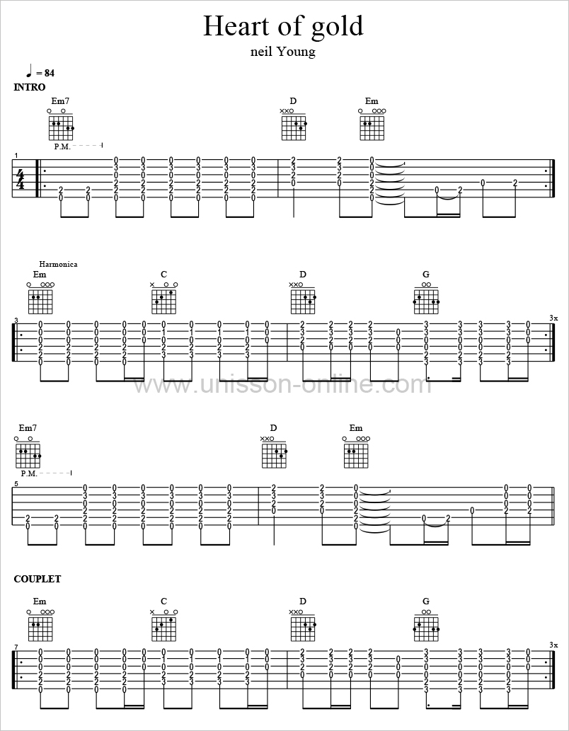 Heart-of-gold-Neil Young-Tablature-Guitar-Pro
