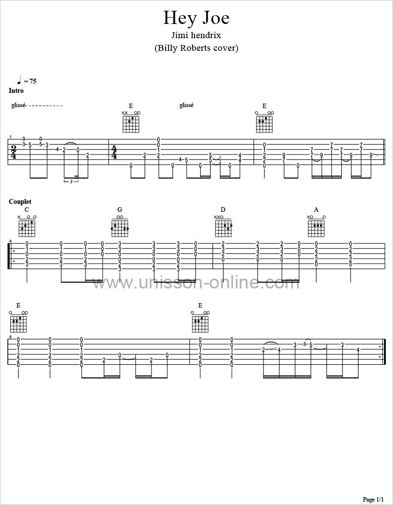 Hey-Joe-Jimi-Hendrix-Tablature-Guitar-Pro