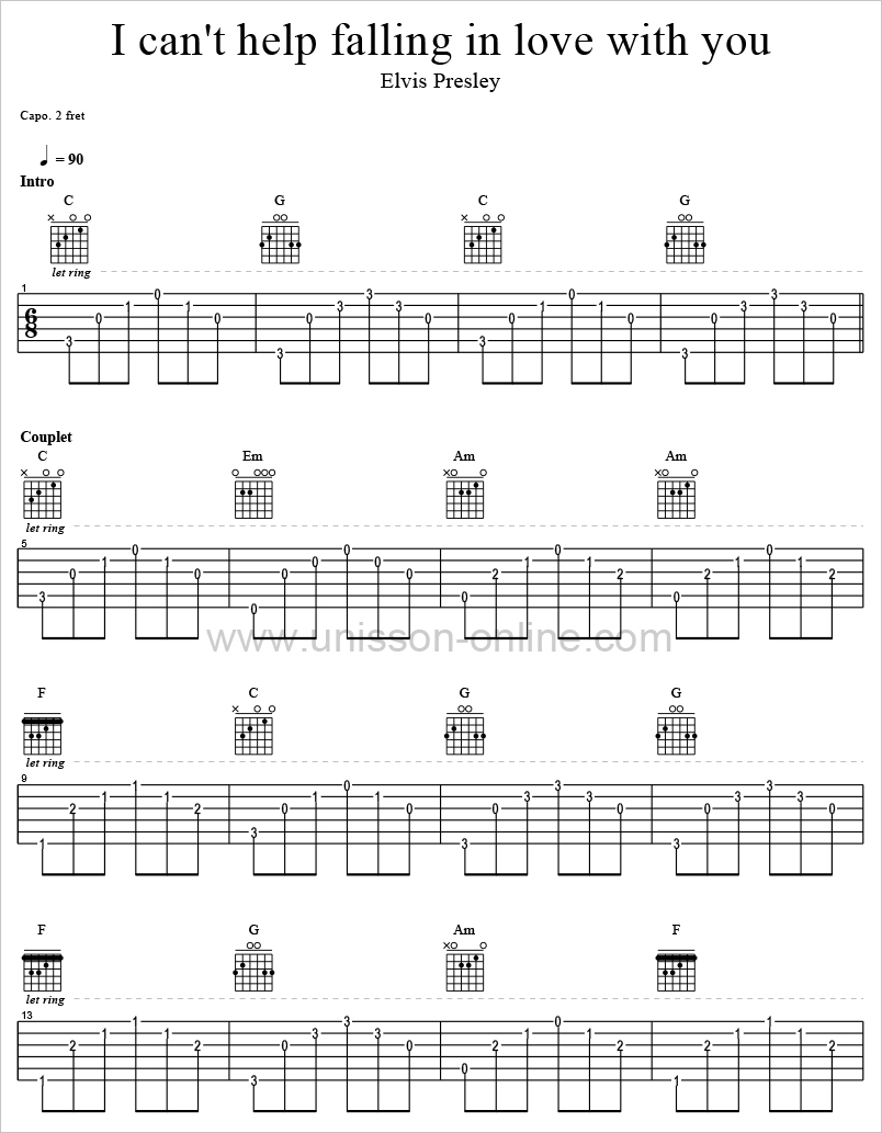 I-cant-help-falling in love with you - Elvis Presley-Tablature-Guitar-Pro