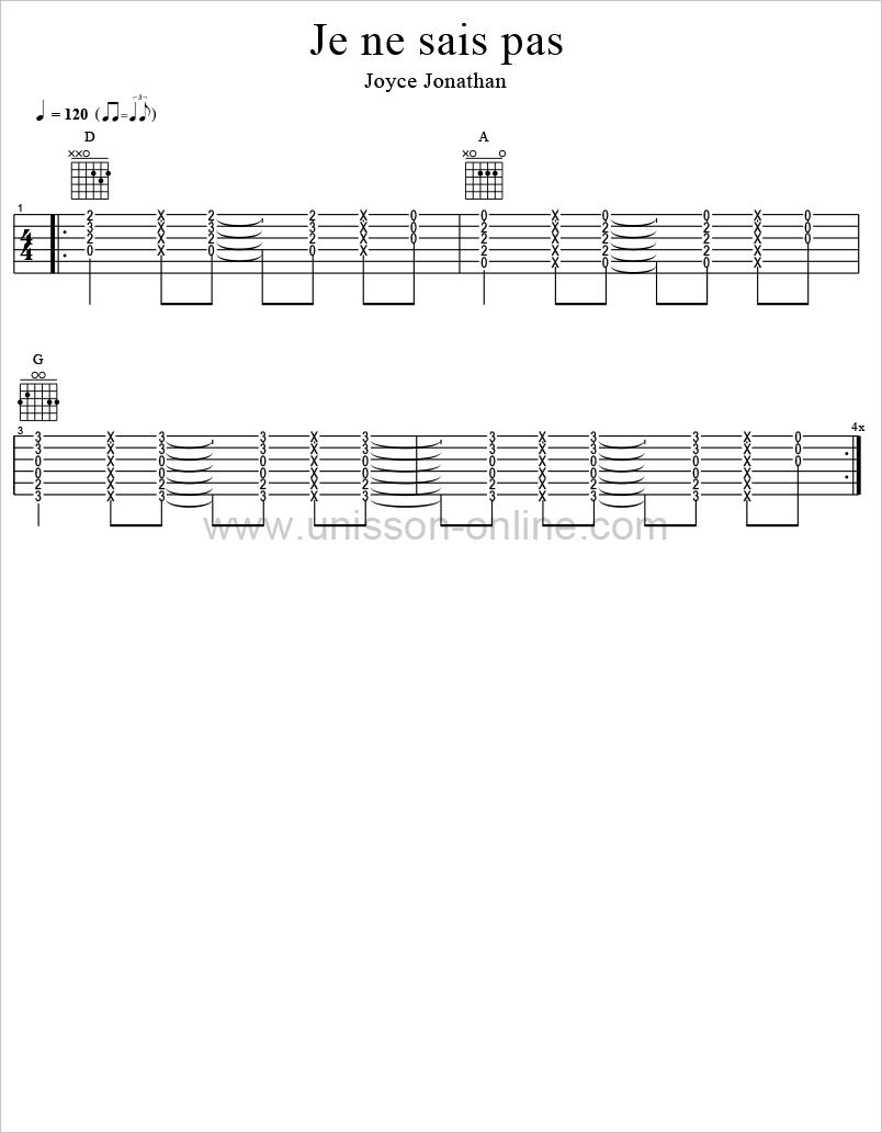 Je-ne-sais-pas-Joyce-Jonathan-Tablature-Guitar-Pro