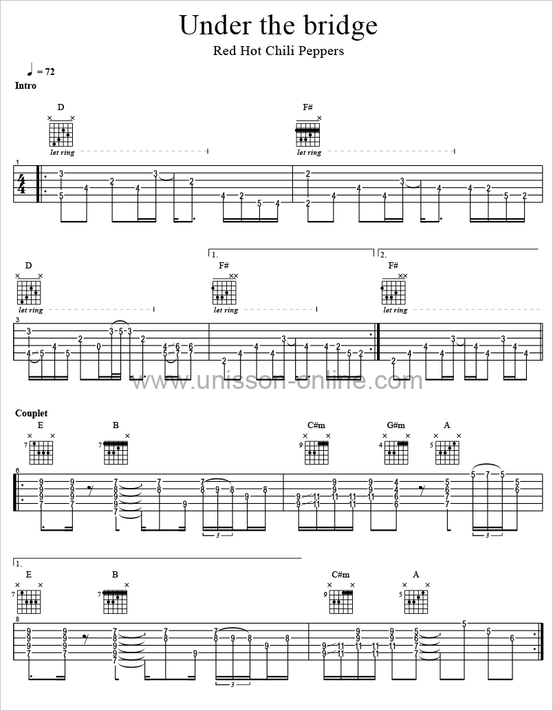 Under-the-bridge-Red-Hot-Chili-Peppers-Tablature-Guitar-Pro