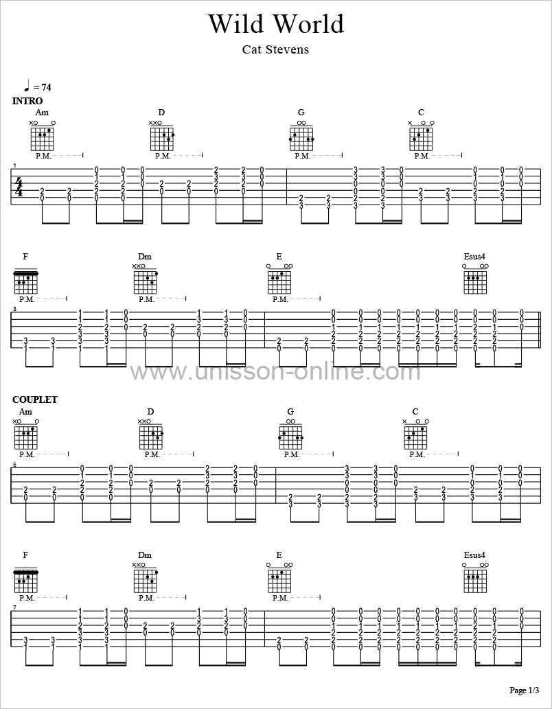 Wild-world-Cat-Stevens-Tablature-Guitar-Pro