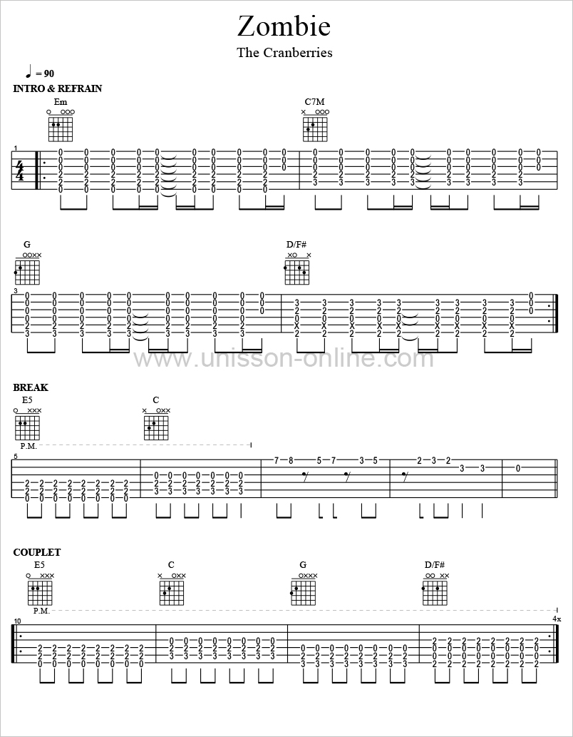 Zombie-The-Cranberries-Tablature-Guitar-Pro