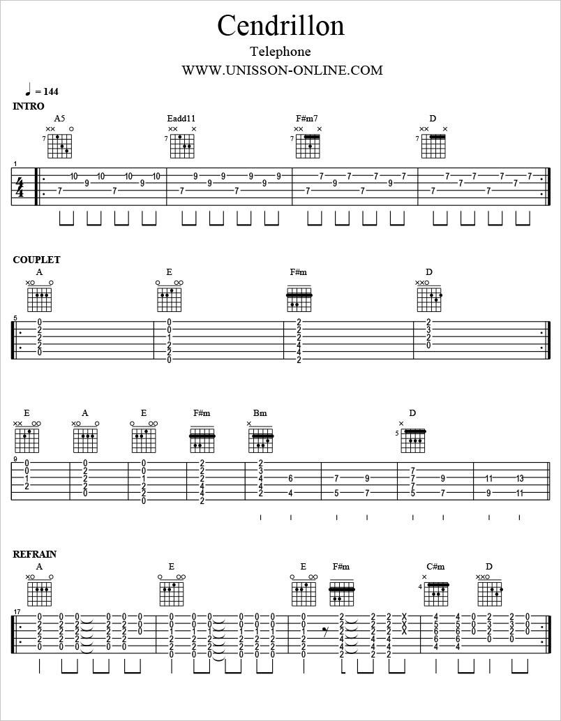 Cendrillon-Telephone-Tablature-Guitar-Pro