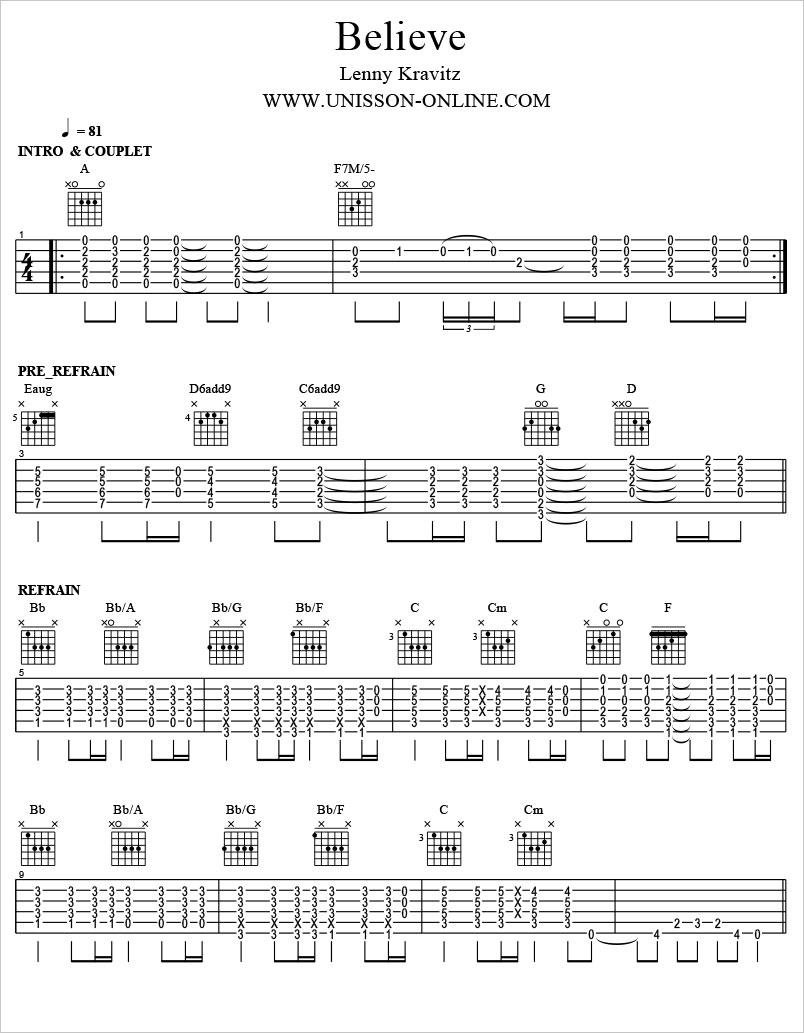 Believe-Lenny-Kravitz-Tablature-Guitar-Pro