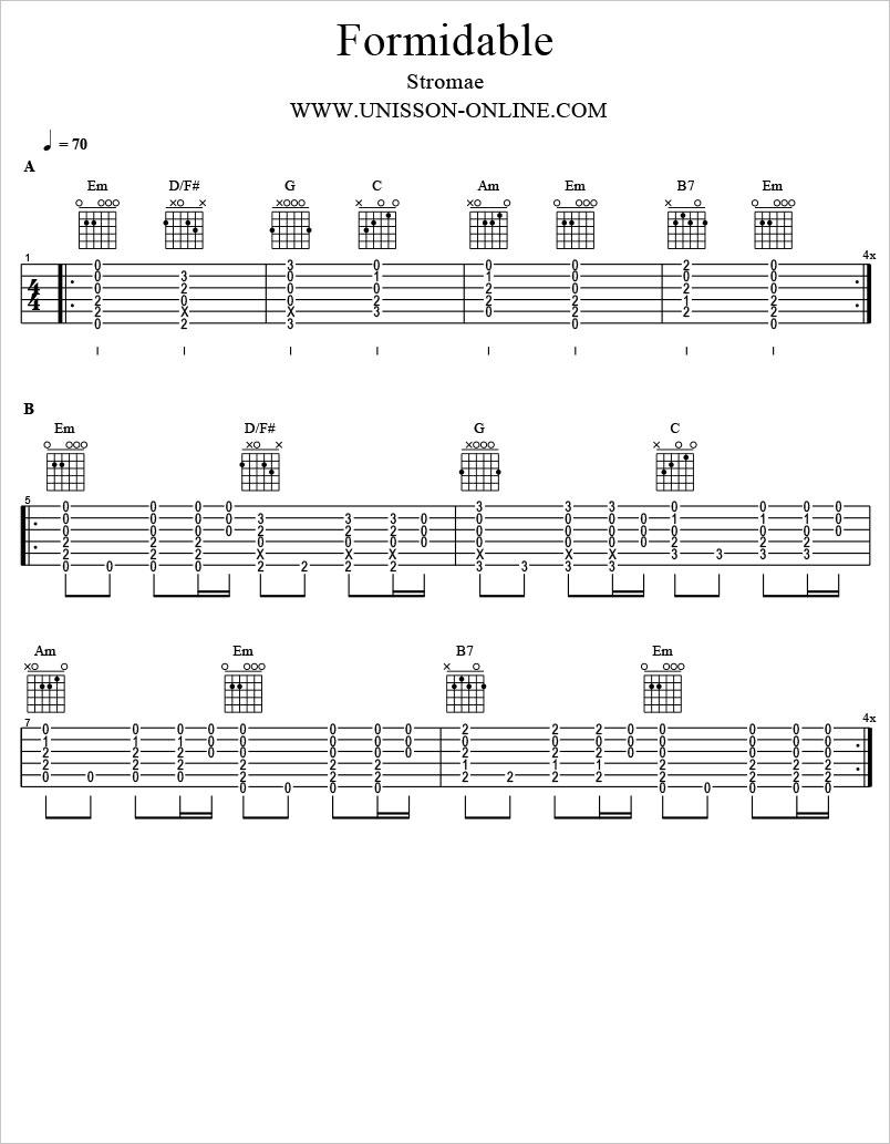 Formidable-Stromae-Tablature-Guitar-Pro