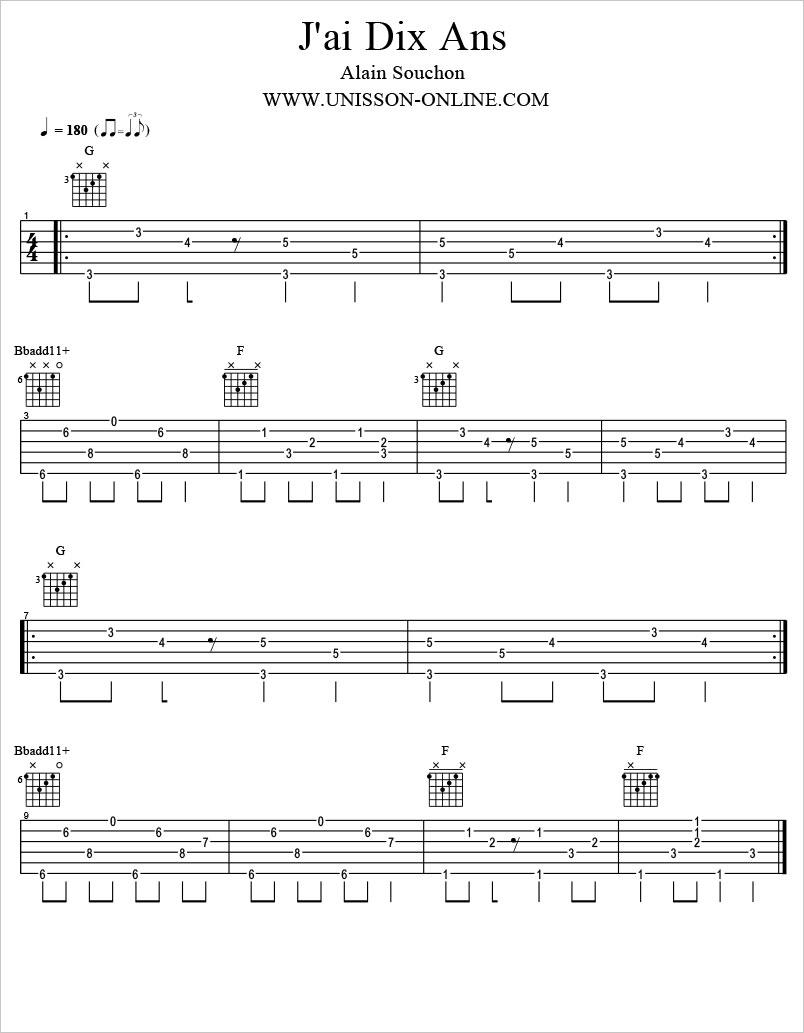 Jai-dix-ans-Alain-Souchon-Tablature-Guitar-Pro