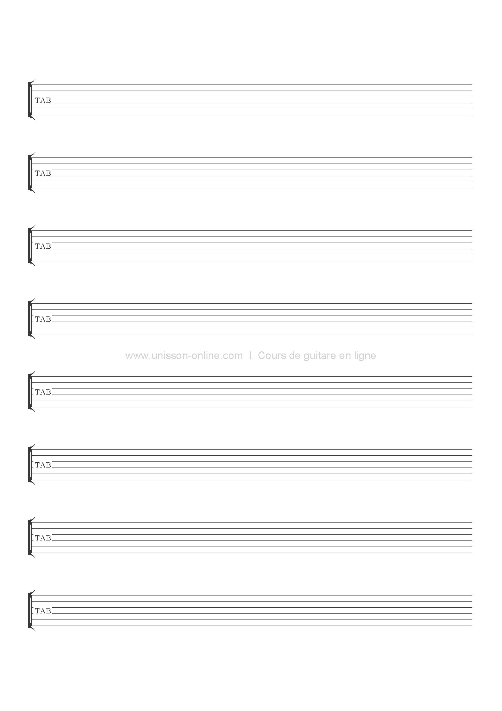 Tablature guitare vierge t l charger i pdf unisson online - Feuille de musique a imprimer ...